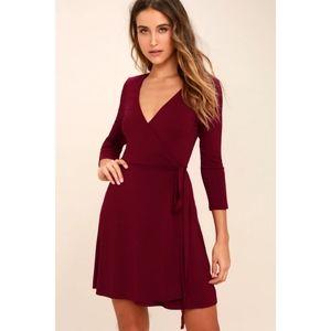 Lulus Burgundy Long Sleeve Wrap Dress Large